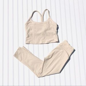 Beyond Yoga Cream Bra and Leggings Matching Set
